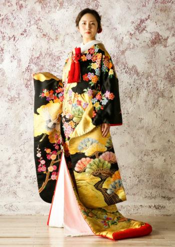 JUK042 雲取花と鶴に金慶
